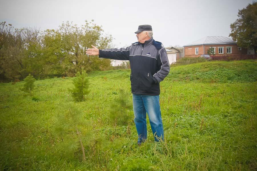 Глава сельсовета Иван Мочалов переживает за елочки. Пока они маленькие, но в будущем украсят село.