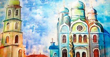 На этом рисунке - Космодемьянская церковь, какой она была в прежние времена.