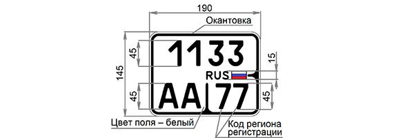Регистрационный знак уменьшенного размера для мотоциклов