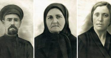 На первом фото — Устин Тимофеевич Красавин. Он имел в Среднем мельницу, был церковным старостой, лечил больных (составлял мазь и был костоправом). На втором фото — его жена Анна Климовна (Климентьевна), на третьем — их дочь Ольга Устиновна.